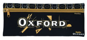 "HELIX OXFORD ""EXTRA LONG"" PENCIL CASE NEOPRENE SINGLE POCKET CASE [Black & Gold]"